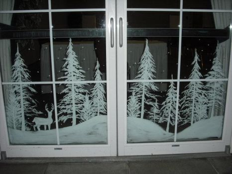 Snowy forest doors by Window-Painting