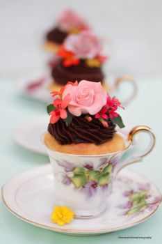 Vanilla Cupcakes with Chocolate Buttercream by theresahelmer