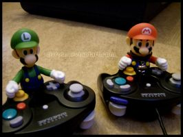 Mario and Luigi... playing? by Pyrou