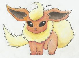Flareon with colored pencils by Randomous
