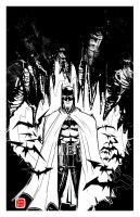 Batman in the  Batcave with bats by SeanLenahanSD