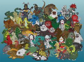 Ultraman Complete 58 Kaijus by earthbaragon