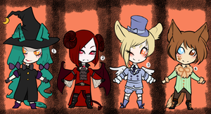 [CLOSED] Chibi halloween adoptables by DeerlyDame