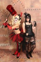 Burlesque Harley Quinn and Catwoman by tee-kyrin
