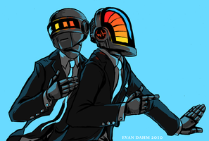 Daft Punk on teal by devilevn