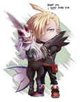 Gladion and Silvally chibi by Autlaw