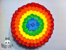 Rainbow Buttercream Petal Cake (top view) by Corpse-Queen