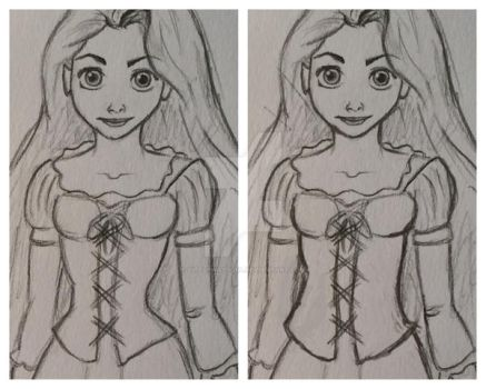 Rapunzel waist comparison by littlewaysoul