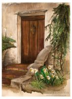 Door at Carmel Mission by Terrauh