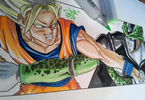 Goku vs. Perfect Cell! [Dragon Ball] by delPuertoSisters