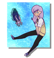 Quinn and a Cuttlefish by Tangyowl