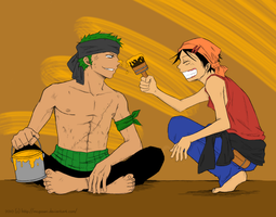 Zoro x Luffy - Paint by Jashin-Sister