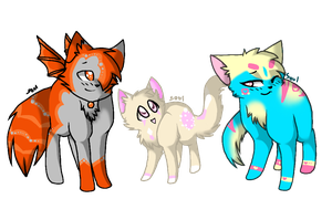 Meteor, Creampuff, and Venus by SoulCats
