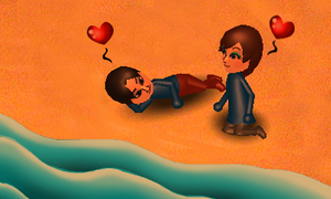 Mii Picture -Love on the Beach- by spdy4