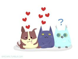 Puppy, Kitty and Owl Want Some Love by kimikiti