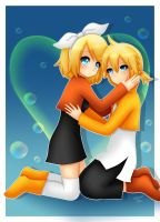 Rin and Len : Love Bubbles by LadyGalatee