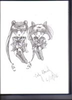 Sailor Moon + Chibimoon sketch by Ark-of-Menphis