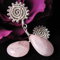 Rose Quartz Spiral Earrings by sylva