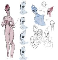 Female Salarian Sketches by evilsherbear