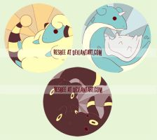 mareep, lapras, umbreon buttons by resubee