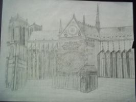 Notre Dame Pencil Drawing by Daylighter123