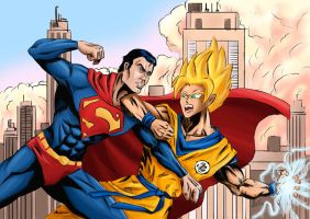 Goku vs Superman by Amenoosa