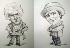 Pertwee And McCoy Caricatures by Marker-Mistress