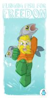 Flinging Fish for Freedom - Aquaman by happymonkeyshoes
