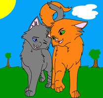 Cinderpelt and Firestar by RavenfeatherForever
