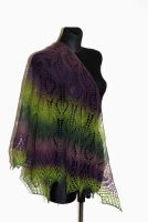 Hand knit lace shawl in green and purple by NitkaAG