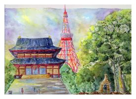 Zojoji Temple and Tokyo Tower Art Trade by Onyana