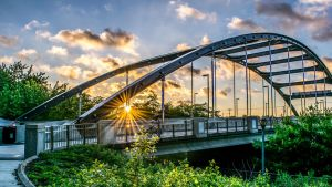 Dr. Martin Luther King Jr. Bridge with Sunburst by redwolf518
