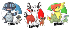 Contest - Fakemon starters - Which do you choose? by Cid-Fox