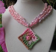 Pink camouflage crochet ladder ribbon necklace and by doilydeas