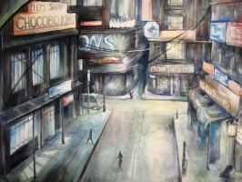 downtown midgar watercolor by lunrsilvreclips