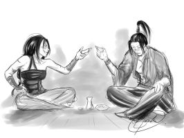 Sake with a rival by Courtney-Crowe