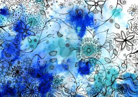 Flower Garden - blue by HannahChapman