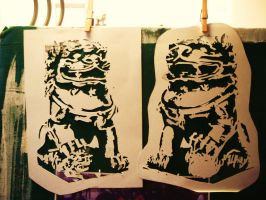 Fu Dog Stencils by M0NSTERB00TS