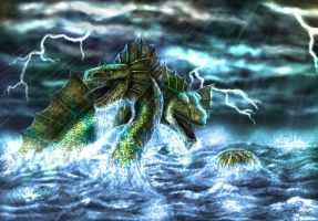 Clash of the Sea Serpents by TargonRedDragon
