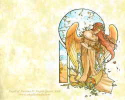 Angel of Autumn Wallpaper by AngelaSasser