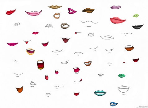 Anime lips and mouths by izka197