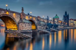Midnight in Prague again | Charles bridge by Impo5siblr