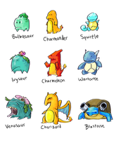 Generation 1 Starters by icickle
