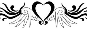 Winged heart tattoo by Forace