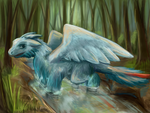 A little angel-like dragon in the forest by pokePiterr