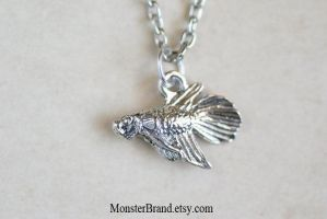 Tiny Betta Fish Necklace by MonsterBrandCrafts