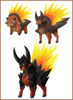 New fan game fire starters by shinyscyther