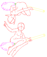 Witches on Brooms Pose v2 by StrangestOne