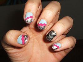 Pink Blue And Glitter by lettym