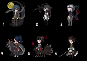 free 100 themed selfy adopts: day 5 Black [CLOSED] by AlbinoAdopts